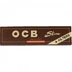 OCB Unbleached Virgin Paper Slim +Tips 1er
