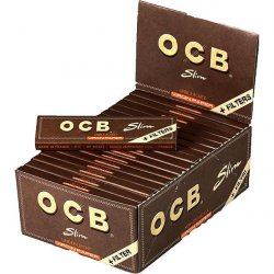 OCB Unbleached Virgin Paper Slim +Tips 32er